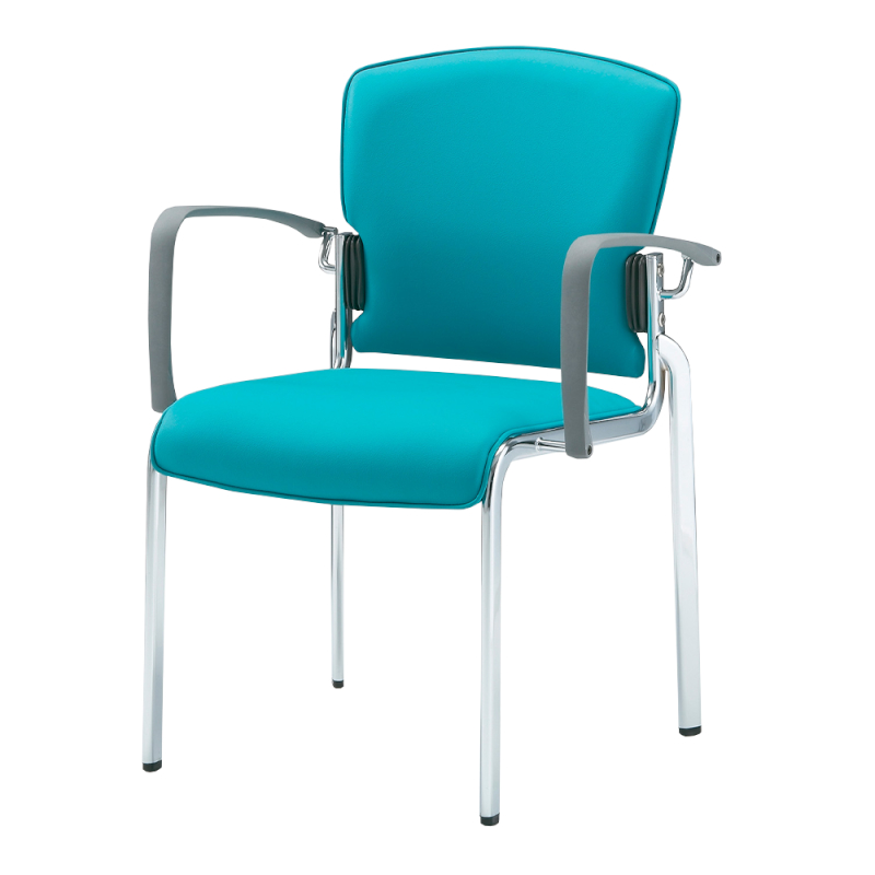ミーティングチェア 応接用椅子 4本脚 スチール メッキ脚 肘付き レザー | I-DMB31M-LYL