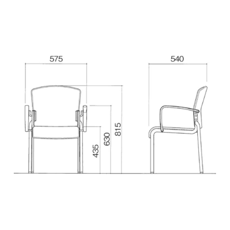 ミーティングチェア 応接用椅子 4本脚 スチール メッキ脚 肘付き レザー   I-DMB31M-LYL