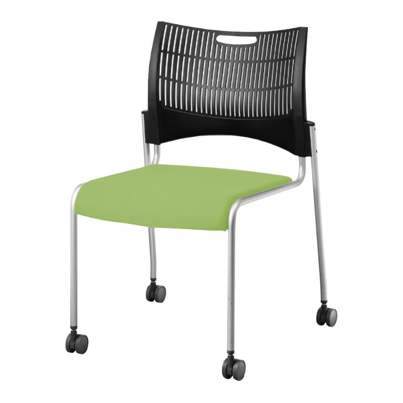 ミーティングチェア スタッキングチェア 会議用椅子 4本脚 スチール シルバー 塗装脚 キャスター付き シェルブラック レザー   I-DMC23C-LYL