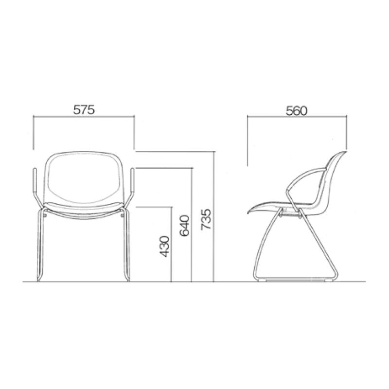 ミーティングチェア スタッキングチェア 学校教育用椅子 ループ脚 スチール メッキ脚 肘付き シェルブルー レザー | I-DJR218-LYL