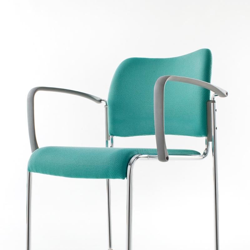 ミーティングチェア 応接用椅子 4本脚 スチール メッキ脚 肘付き レザー | I-DB11M-LYL