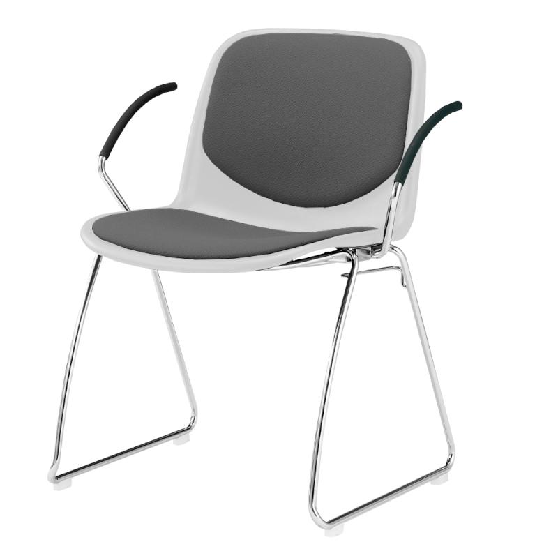 ミーティングチェア スタッキングチェア 学校教育用椅子 ループ脚 スチール メッキ脚 肘付き シェルライトグレー 上級布 | I-DJR218-PXN