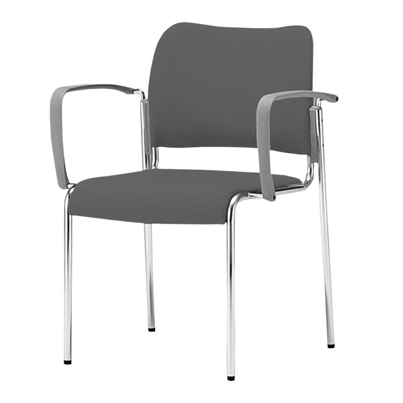 ミーティングチェア 応接用椅子 4本脚 スチール メッキ脚 肘付き 布 | I-DB11M-SJN