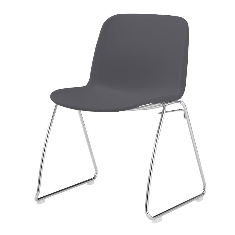 ミーティングチェア スタッキングチェア 学校教育用椅子 ループ脚 スチール メッキ脚 シェルブラック 樹脂   I-DJR30B