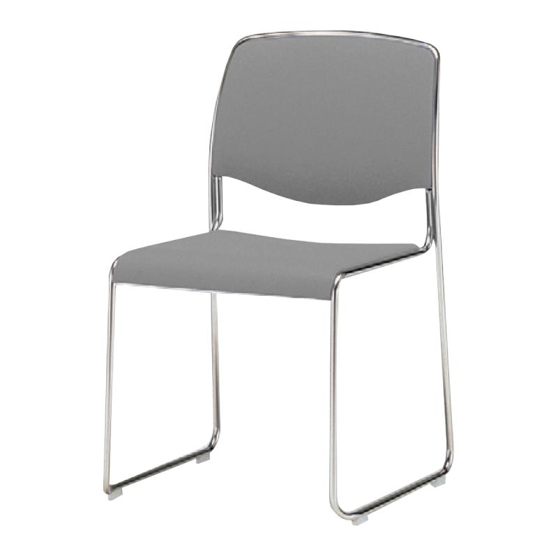 ミーティングチェア スタッキングチェア 会議用椅子 ループ脚 スチール メッキ脚 レザー | I-CDS73M-LYL