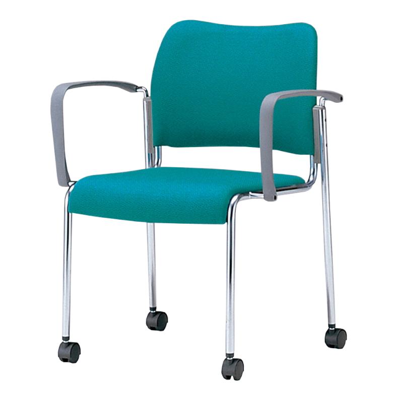 ミーティングチェア 応接用椅子 4本脚 スチール メッキ脚 肘付き レザー   I-DB11MC-LYL