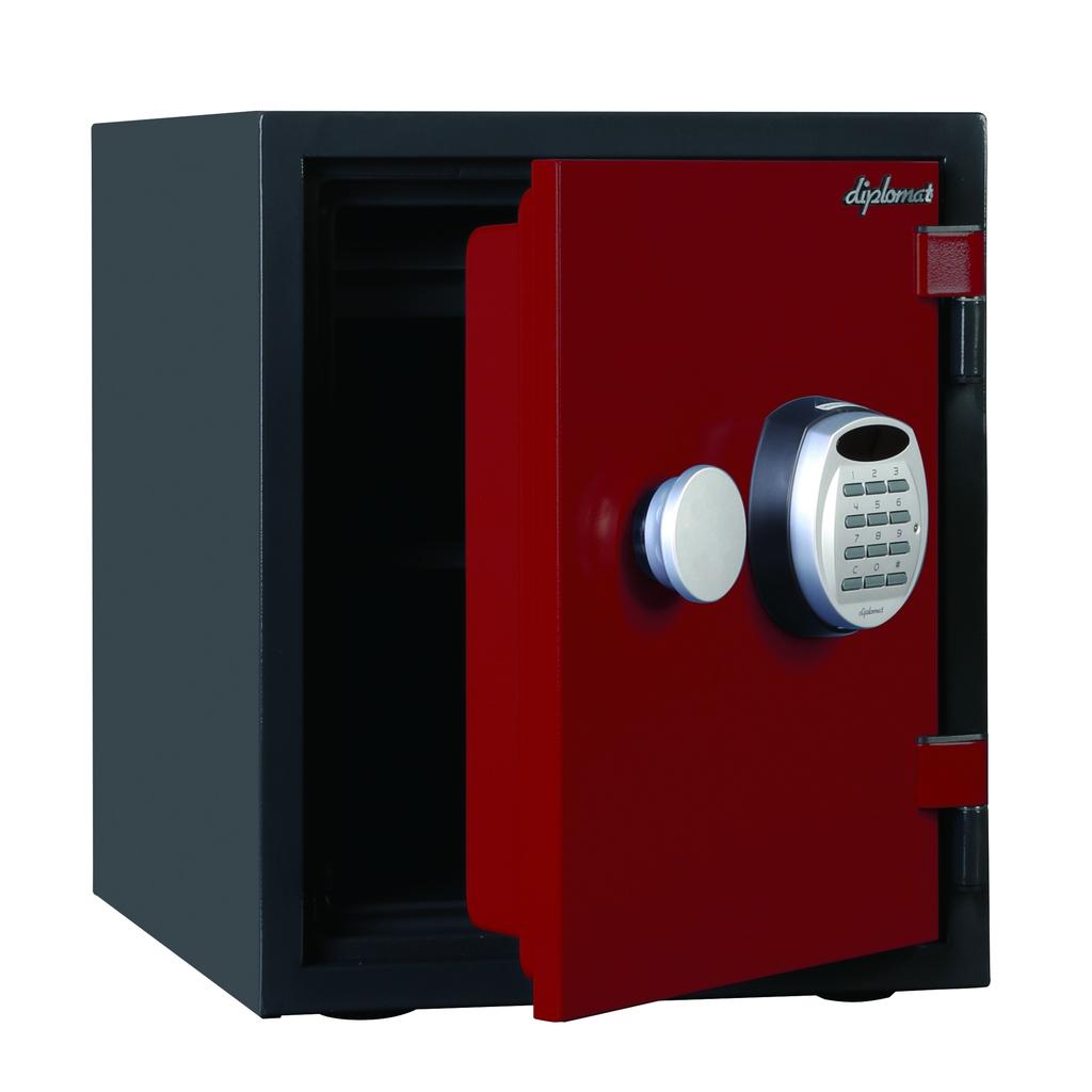 ディプロマット デジタルテンキー式 デザイン金庫 60分耐火耐水 容量25L レッド 警報音付   I-A125R3WRRED
