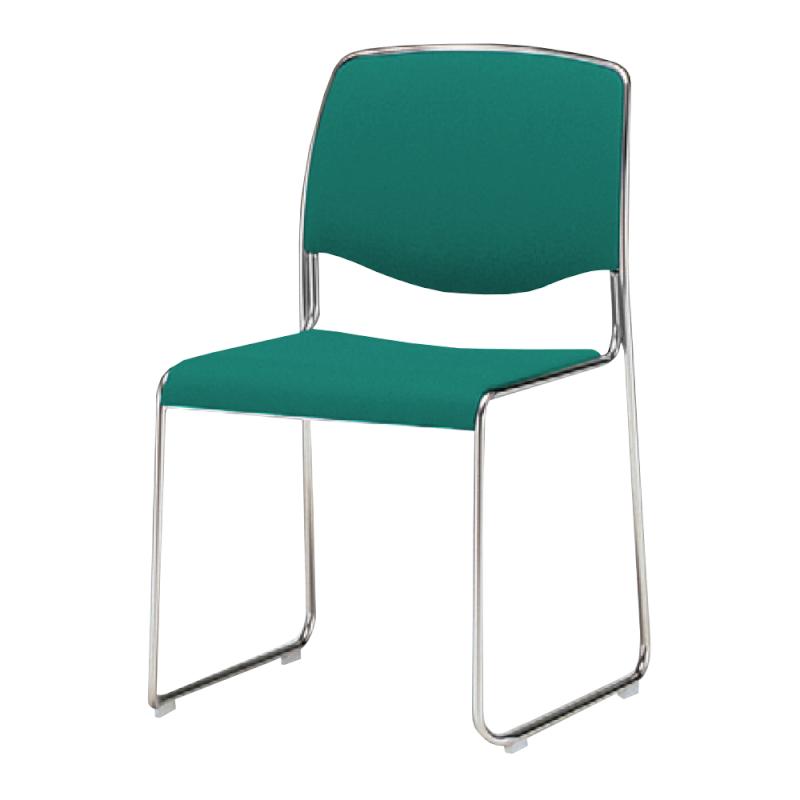 ミーティングチェア スタッキングチェア 会議用椅子 ループ脚 スチール メッキ脚 布   I-DS73M-SJN