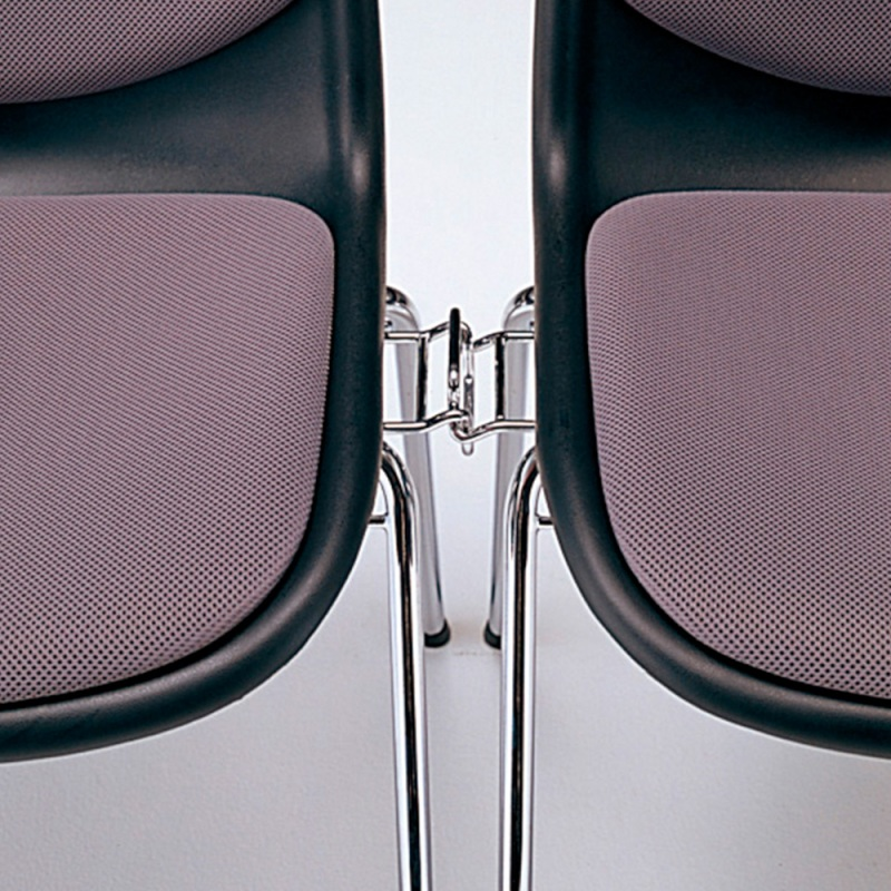 ミーティングチェア スタッキングチェア 学校教育用椅子 ループ脚 スチール メッキ脚 シェルブラック レザー | I-DJR301-LYL