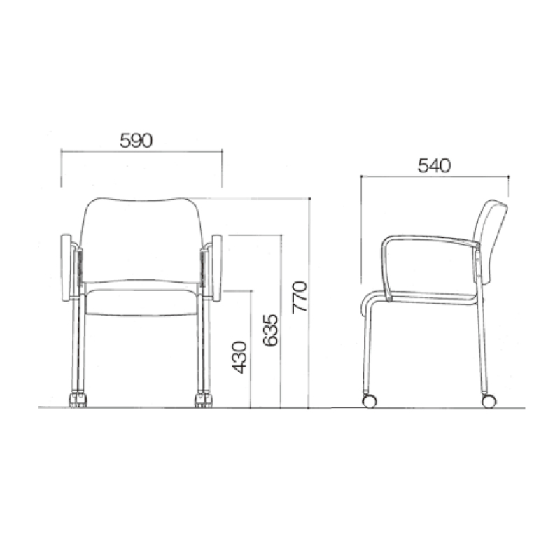 ミーティングチェア 応接用椅子 4本脚 スチール メッキ脚 肘付き 布 | I-DB11MC-SJN