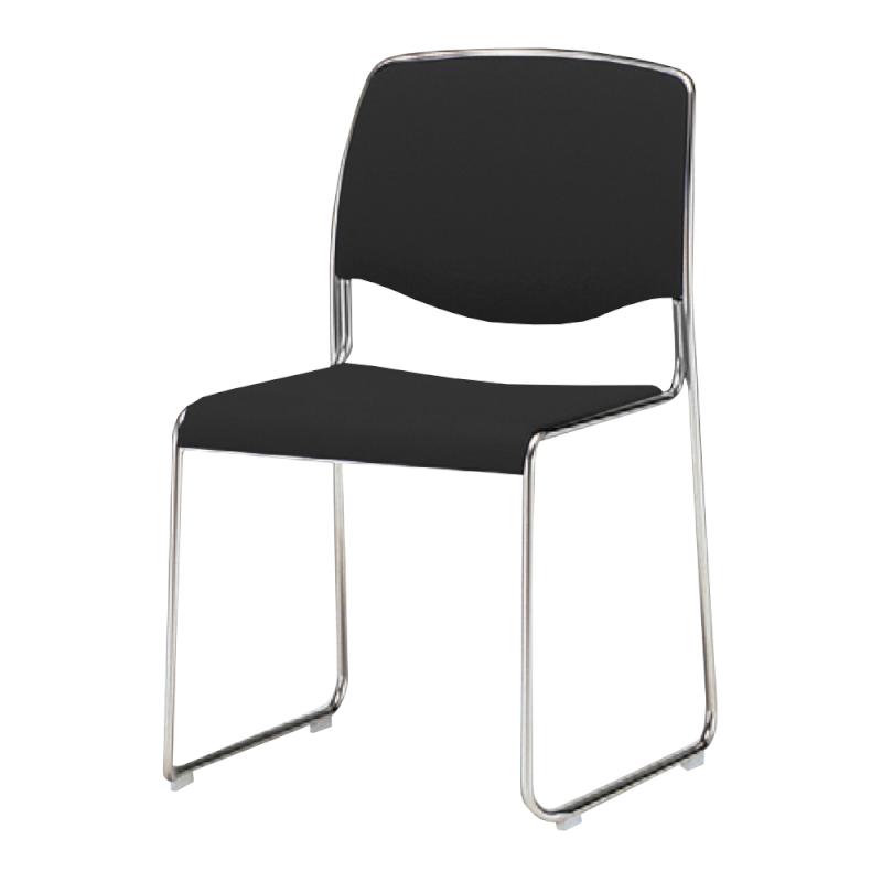 ミーティングチェア スタッキングチェア 会議用椅子 ループ脚 スチール メッキ脚 連結金具付き レザー | I-DS735M-LYL