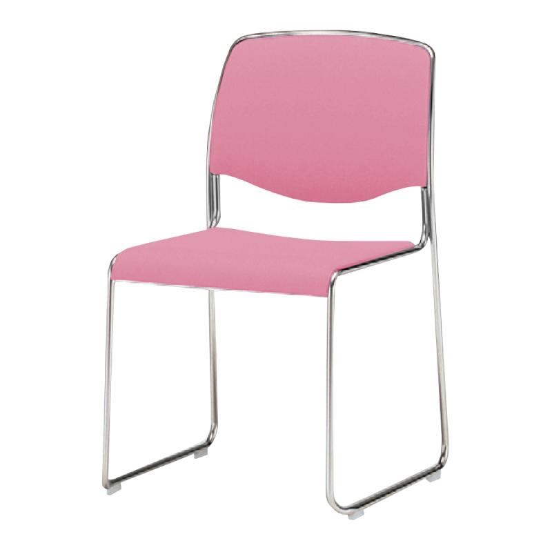 ミーティングチェア スタッキングチェア 会議用椅子 ループ脚 スチール メッキ脚 連結金具付き 布   I-DS735M-SJN