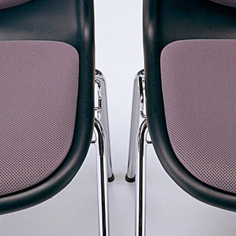 ミーティングチェア スタッキングチェア 学校教育用椅子 ループ脚 スチール メッキ脚 シェルライトグレー レザー   I-DJR307-LYL