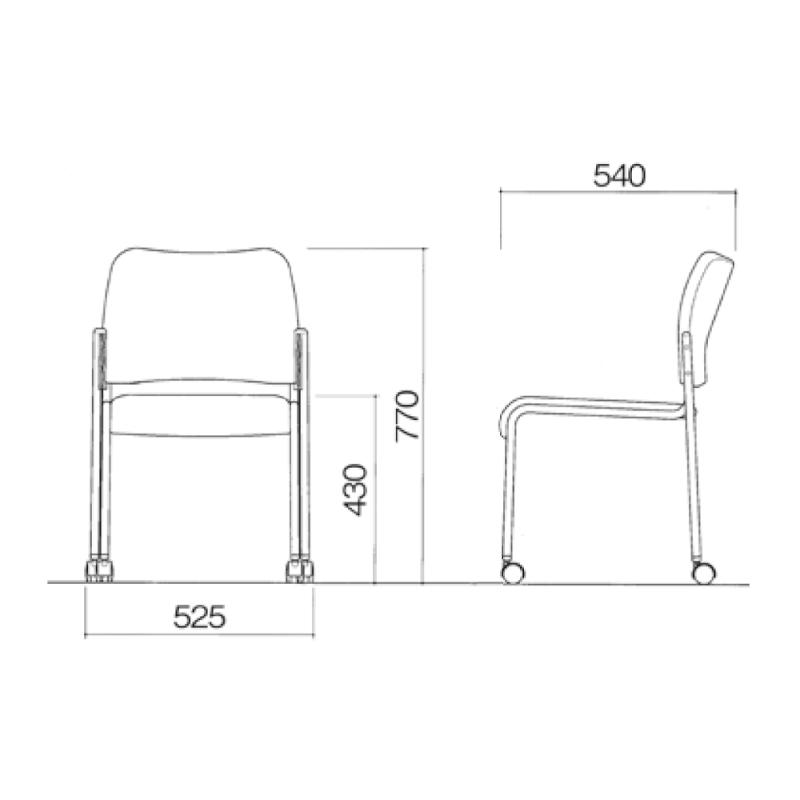 ミーティングチェア 応接用椅子 4本脚 スチール メッキ脚 布 | I-DB50MC-SJN