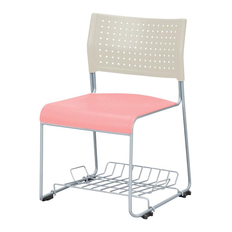 ミーティングチェア スタッキングチェア 会議用椅子 ループ脚 スチール シルバー 塗装脚 荷物受棚付 樹脂 | I-LTS-110Z-TN