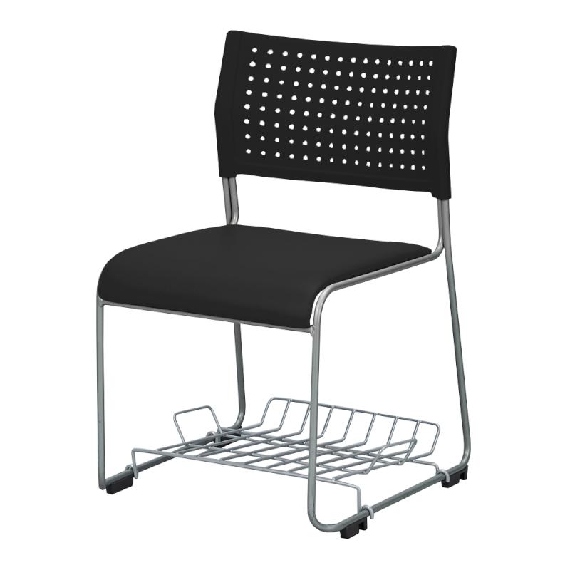 ミーティングチェア スタッキングチェア 会議用椅子 ループ脚 スチール シルバー 塗装脚 荷物受棚付 レザー | I-LTS-110-V-TN