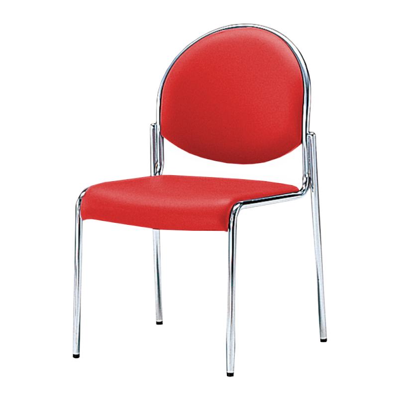 ミーティングチェア 応接用椅子 4本脚 スチール メッキ脚 肘付き レザー | I-DME11-LYL