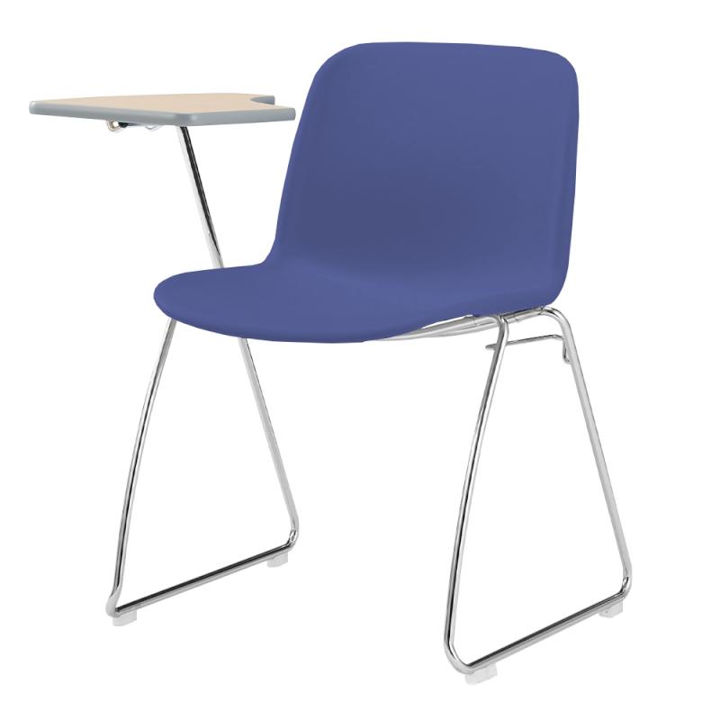 ミーティングチェア スタッキングチェア 学校教育用椅子 ループ脚 スチール メッキ脚 メモ台付き シェルブルー 樹脂 | I-DJM20A