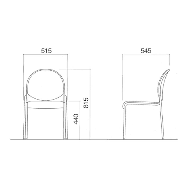 ミーティングチェア 応接用椅子 4本脚 スチール メッキ脚 肘付き 布 | I-DME11-SJN