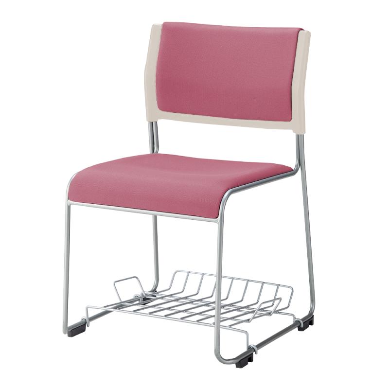 ミーティングチェア スタッキングチェア 会議用椅子 ループ脚 スチール シルバー 塗装脚 荷物受棚付 布 | I-LTS-110P-F-TN