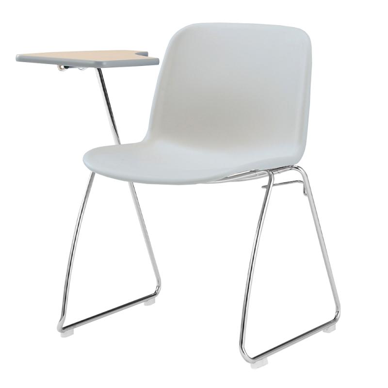 ミーティングチェア スタッキングチェア 学校教育用椅子 ループ脚 スチール メッキ脚 メモ台付き シェルライトグレー 樹脂 | I-DJM20L