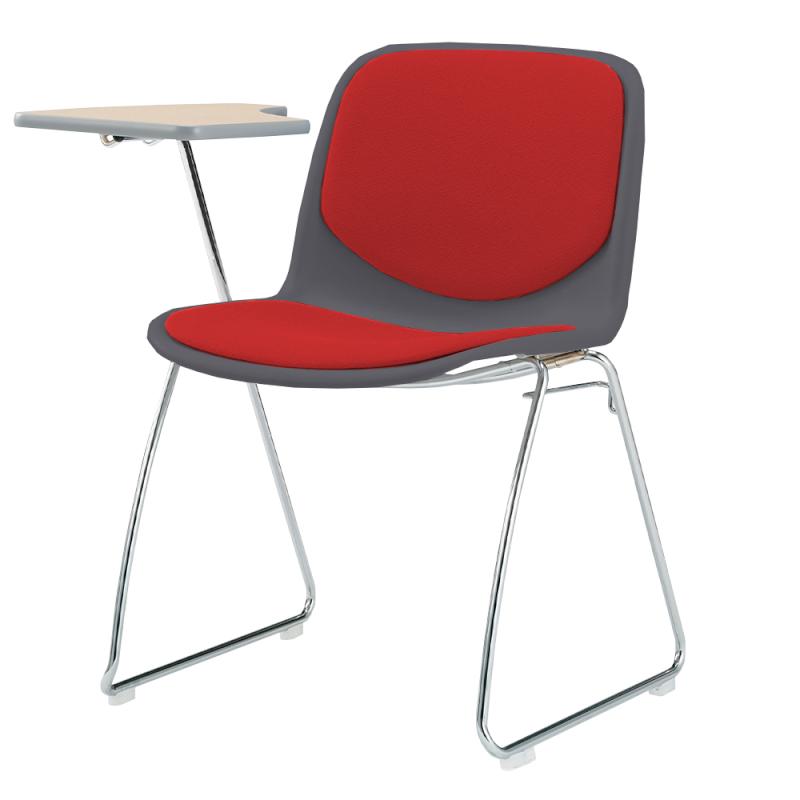 ミーティングチェア スタッキングチェア 学校教育用椅子 ループ脚 スチール メッキ脚 メモ台付き シェルブルー 上級布 | I-DJM201-PXN