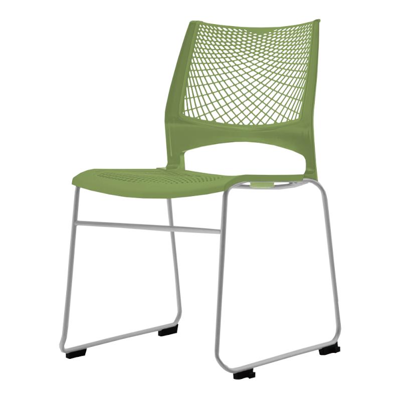ミーティングチェア スタッキングチェア 会議用椅子 ループ脚 スチール シルバー 塗装脚 メッシュ | I-VSTR-S