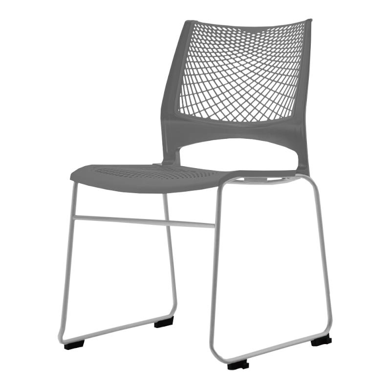 ミーティングチェア スタッキングチェア 会議用椅子 ループ脚 スチール シルバー 塗装脚 メッシュ   I-VSTR-S
