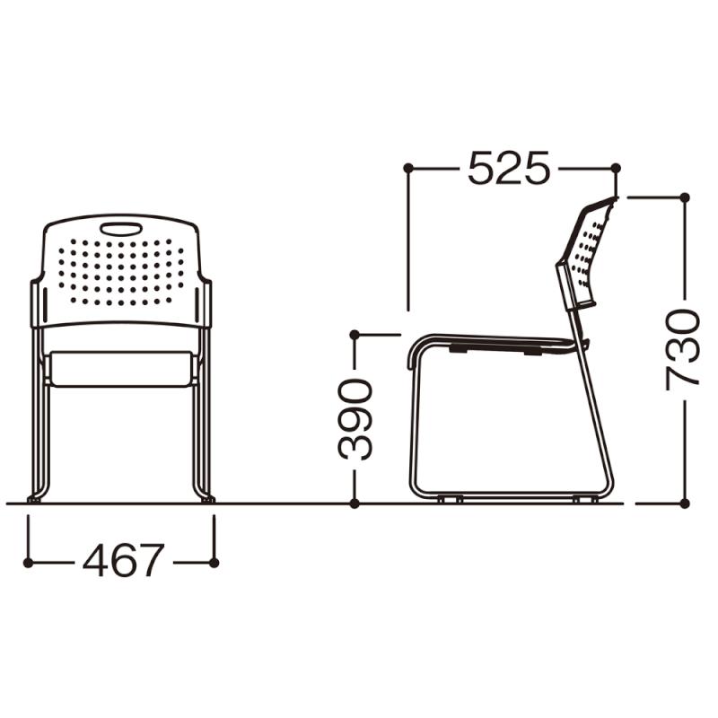ミーティングチェア スタッキングチェア 会議用椅子 ループ脚 スチール シルバー 塗装脚 荷物受棚付 レザー | I-HGS-39PV-TN