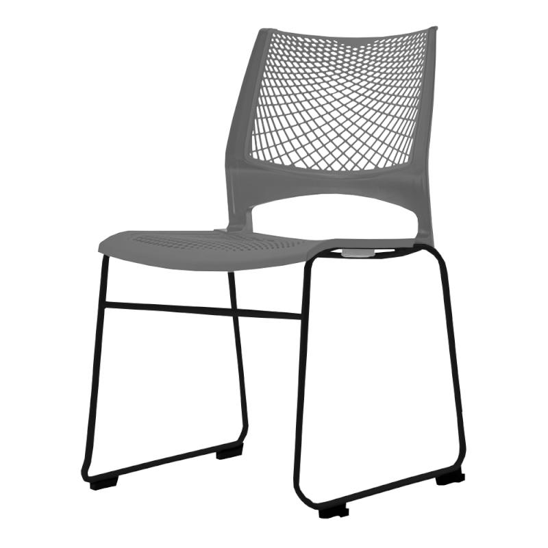 ミーティングチェア スタッキングチェア 会議用椅子 ループ脚 スチール ブラック 塗装脚 メッシュ | I-VSTR-B