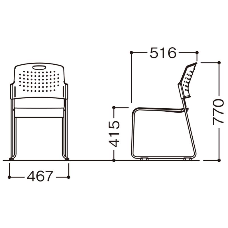 ミーティングチェア スタッキングチェア 会議用椅子 ループ脚 スチール シルバー 塗装脚 荷物受棚付 樹脂 | I-HGS-41PP-TN