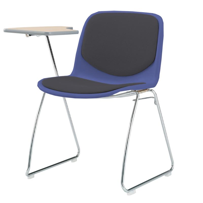 ミーティングチェア スタッキングチェア 学校教育用椅子 ループ脚 スチール メッキ脚 メモ台付き シェルブラック 上級布 | I-DJM207-PXN