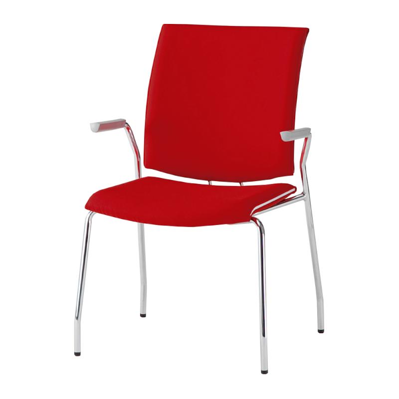 ミーティングチェア 応接用椅子 4本脚 スチール メッキ脚 肘付き レザー | I-TRF31-LYL