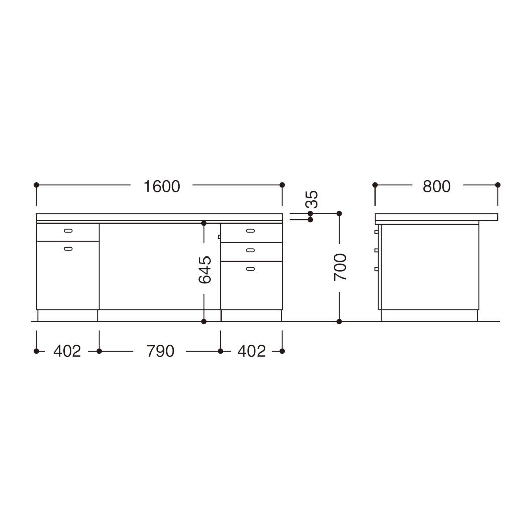 役員家具 両袖デスク | I-4500-12