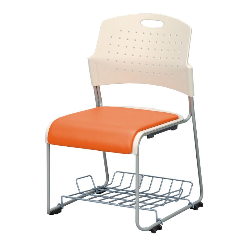 ミーティングチェア スタッキングチェア 会議用椅子 ループ脚 スチール シルバー 塗装脚 荷物受棚付 レザー | I-HGS-43PV-TN