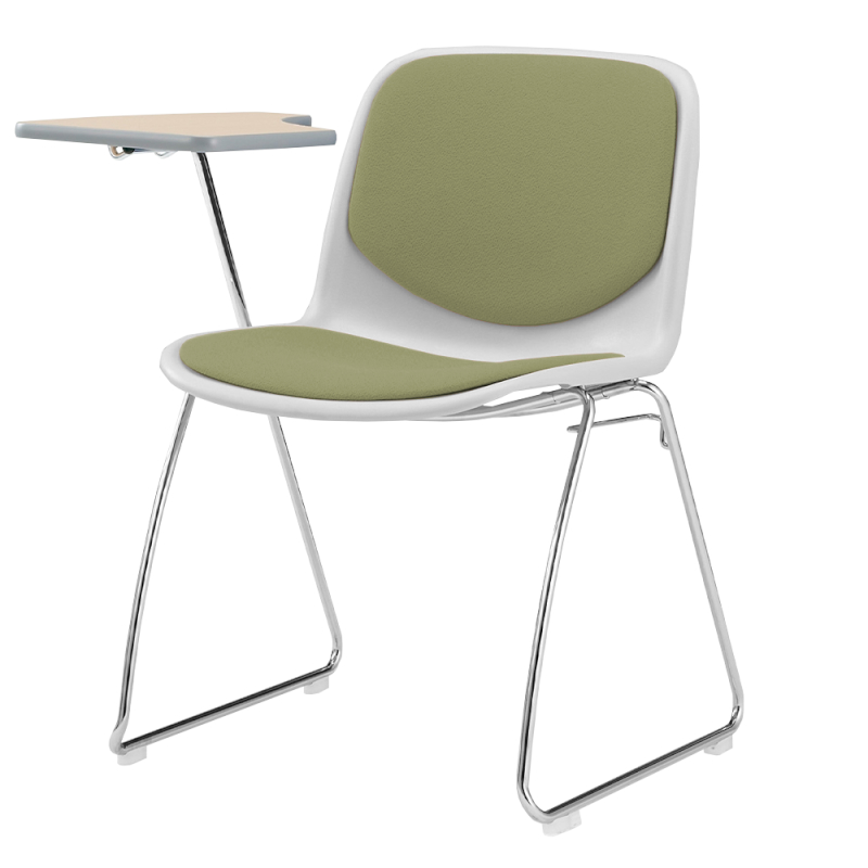 ミーティングチェア スタッキングチェア 学校教育用椅子 ループ脚 スチール メッキ脚 メモ台付き シェルブルー レザー   I-DJM208-LYL