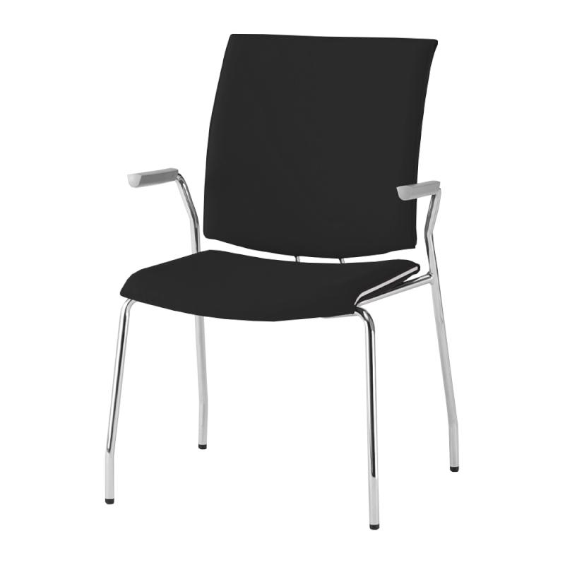 ミーティングチェア 応接用椅子 4本脚 スチール メッキ脚 肘付き 布   I-TRF31-F