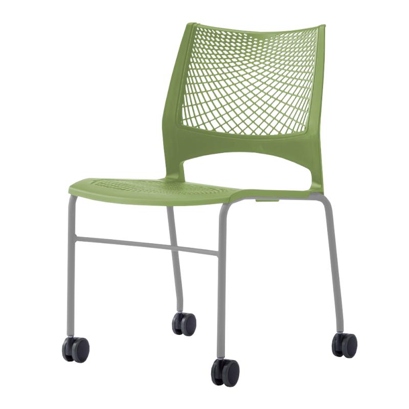 ミーティングチェア スタッキングチェア 会議用椅子 4本脚 スチール シルバー 塗装脚 キャスター付き メッシュ | I-VST-4C-S