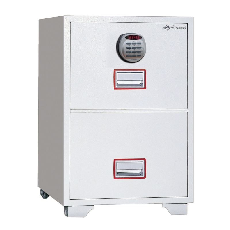 ディプロマット デジタルテンキー式金庫 60分耐火キャビネット2段 容量104L ホワイト 警報音付 | I-DFC2000R3