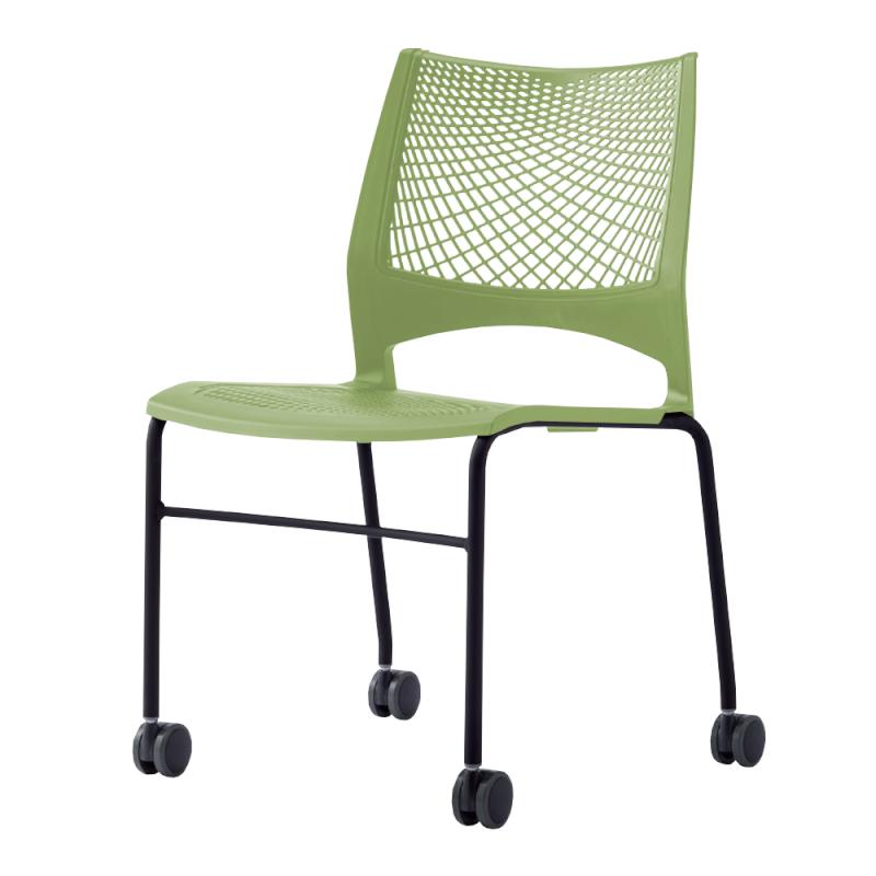 ミーティングチェア スタッキングチェア 会議用椅子 4本脚 スチール ブラック 塗装脚 キャスター付き メッシュ   I-VST-4C-B