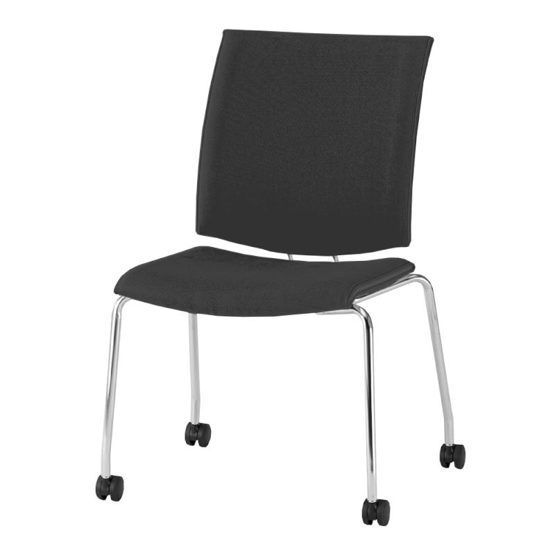 ミーティングチェア 応接用椅子 キャスター脚 スチール メッキ脚 キャスター付き 布   I-TRF30C-F