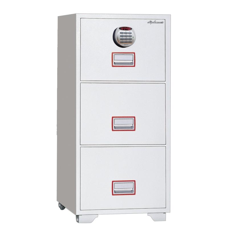 ディプロマット デジタルテンキー式金庫 60分耐火キャビネット3段 容量156L ホワイト 警報音付 | I-DFC3000R3