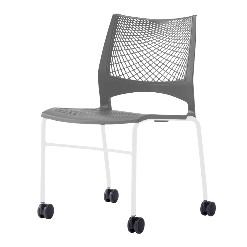ミーティングチェア スタッキングチェア 会議用椅子 4本脚 スチール ホワイト 塗装脚 キャスター付き メッシュ   I-VST-4C-W