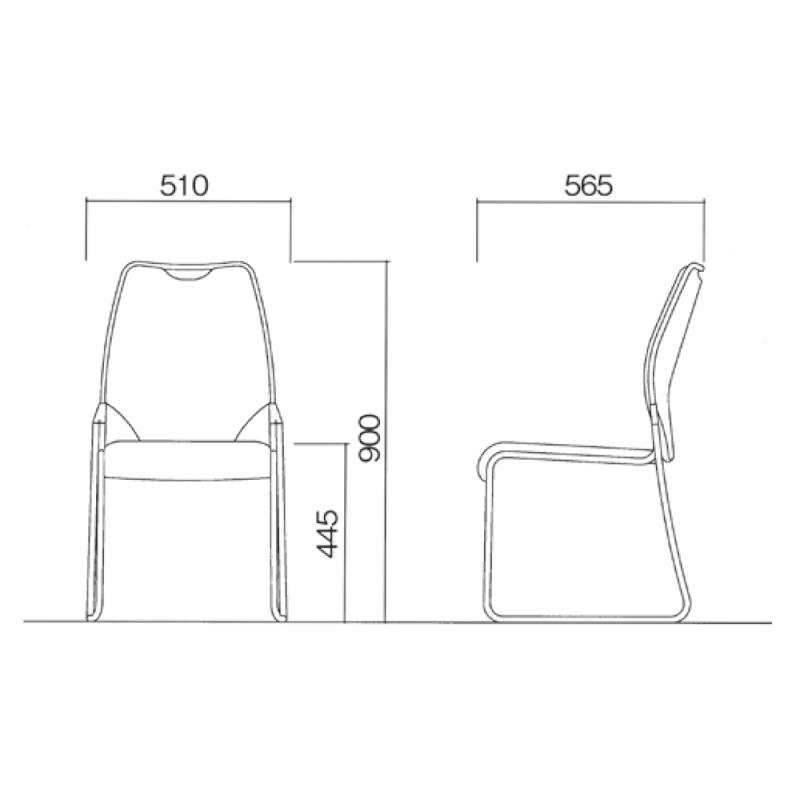 ミーティングチェア スタッキングチェア レセプション用椅子 ループ脚 ステンレス メッキ脚 上級レザー | I-CL940-MBL