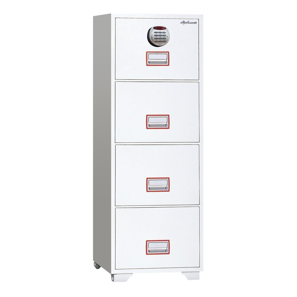 ディプロマット デジタルテンキー式金庫 60分耐火キャビネット4段 容量208L ホワイト 警報音付 | I-DFC4000R3
