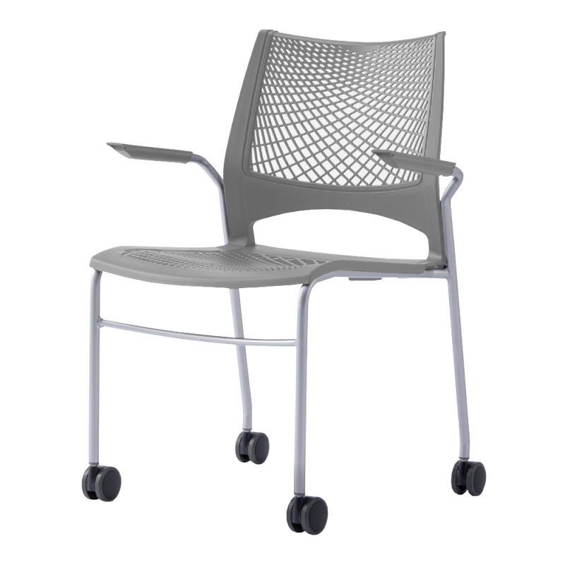 ミーティングチェア スタッキングチェア 会議用椅子 4本脚 スチール シルバー 塗装脚 キャスター付き 肘付き メッシュ   I-VST-4CA-S
