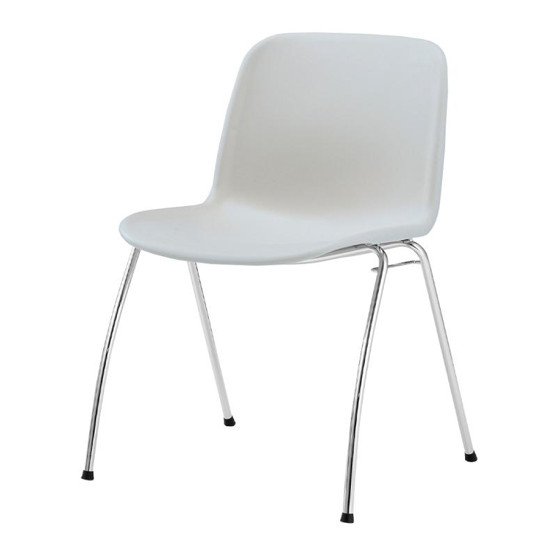 ミーティングチェア スタッキングチェア 学校教育用椅子 4本脚 スチール メッキ脚 シェルライトグレー 樹脂 | I-DJA20L