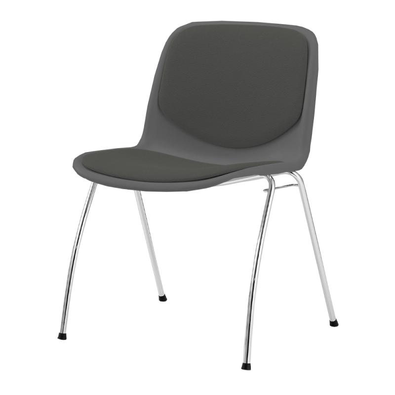 ミーティングチェア スタッキングチェア 学校教育用椅子 4本脚 スチール メッキ脚 シェルブラック レザー | I-DJA201-LYL