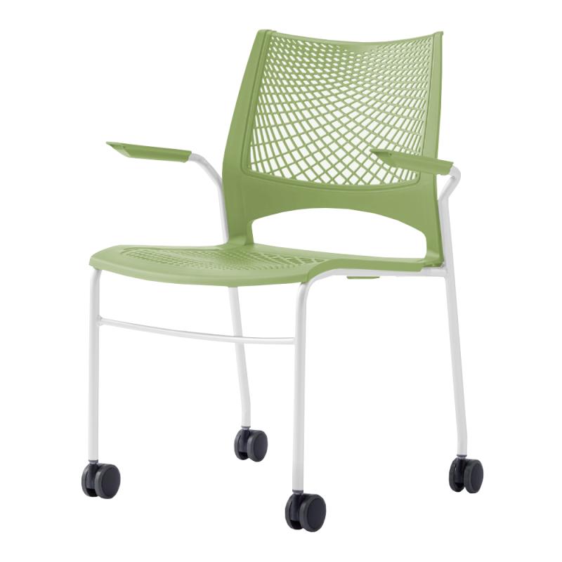 ミーティングチェア スタッキングチェア 会議用椅子 4本脚 スチール ホワイト 塗装脚 キャスター付き 肘付き メッシュ | I-VST-4CA-W