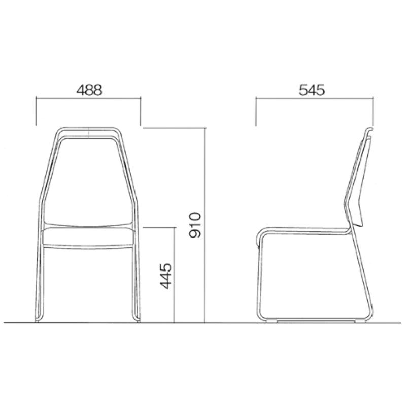 ミーティングチェア スタッキングチェア レセプション用椅子 ループ脚 ステンレス メッキ脚 上級レザー | I-CL930-MBL